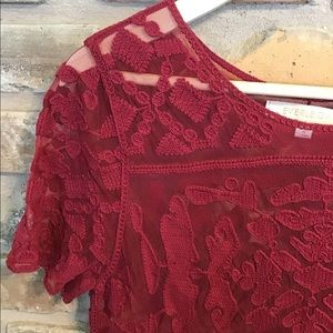 EVERLEIGH Anthro Burgundy Lace Top
